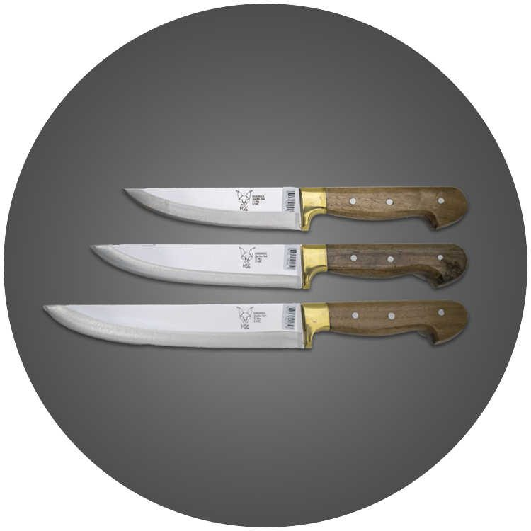 HSK Ahşap Sap 3′lü Set Profesyonel Mutfak - Kasap Bıçağı - Kurban Bıçağı Seti