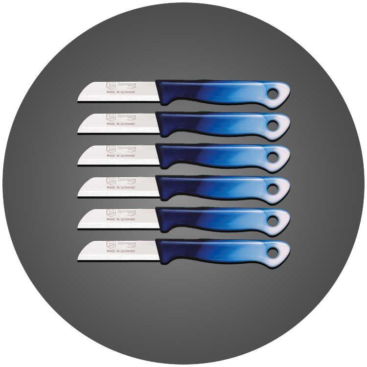 Solingen 6'lı Düz Ağız Küçük Geçişli Mavi Meyve Bıçağı