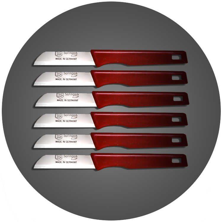 Solingen 6'lı Düz Ağız Küçük Simli Kırmızı Meyve Bıçağı