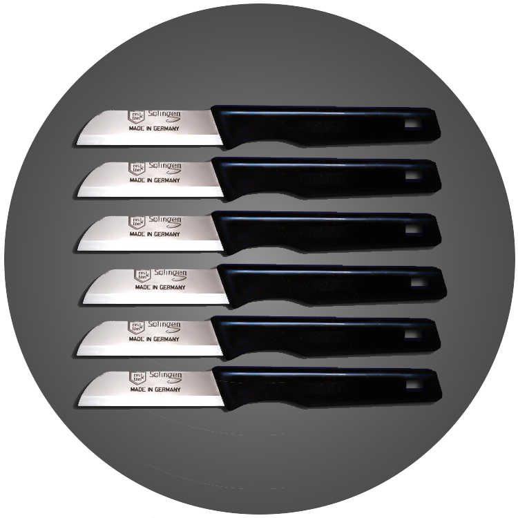 Solingen 6'lı Düz Ağız Küçük Simli Siyah Meyve Bıçağı