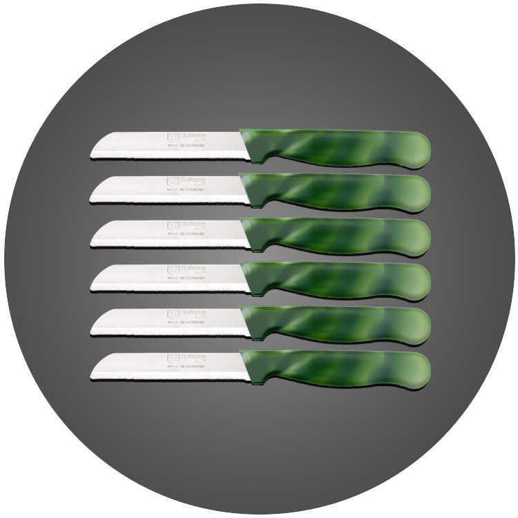 Solingen 6'lı Tırtıklı Ağız Büyük Ebruli Koyu Yeşil Meyve Bıçağı