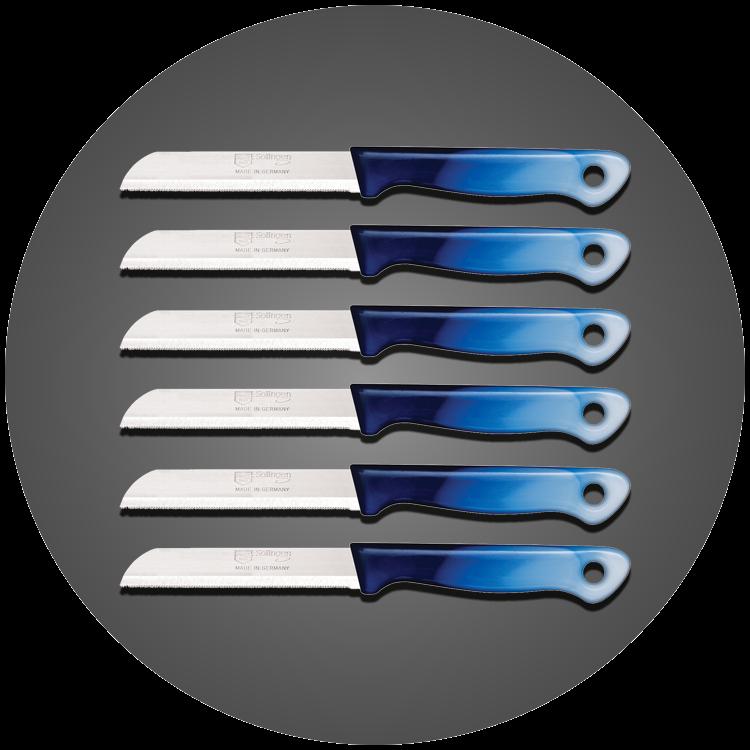Solingen 6'lı Tırtıklı Ağız Büyük Geçişli Mavi Meyve Bıçağı