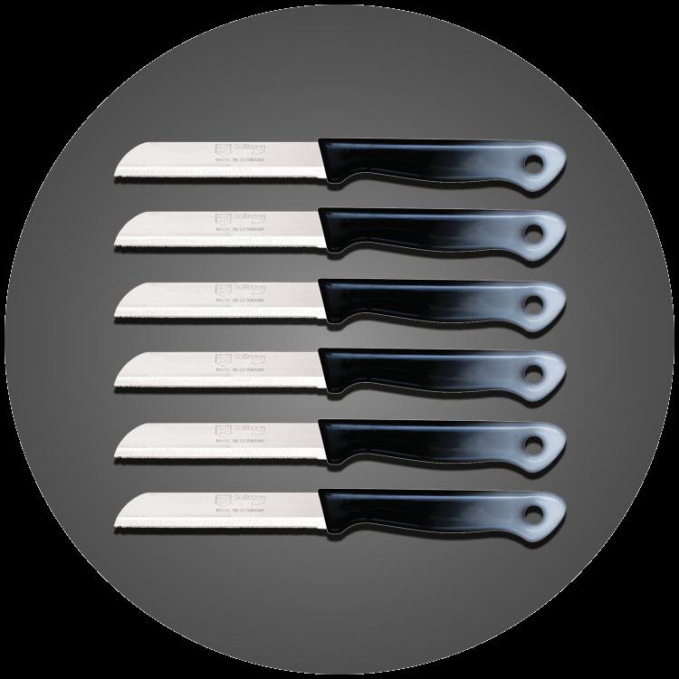 Solingen 6'lı Tırtıklı Ağız Büyük Geçişli Siyah Meyve Bıçağı