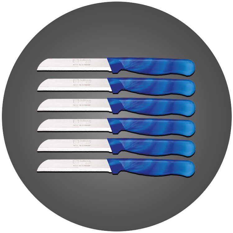 Solingen 6'lı Tırtıklı Ağız Büyük Ebruli Mavi Meyve Bıçağı