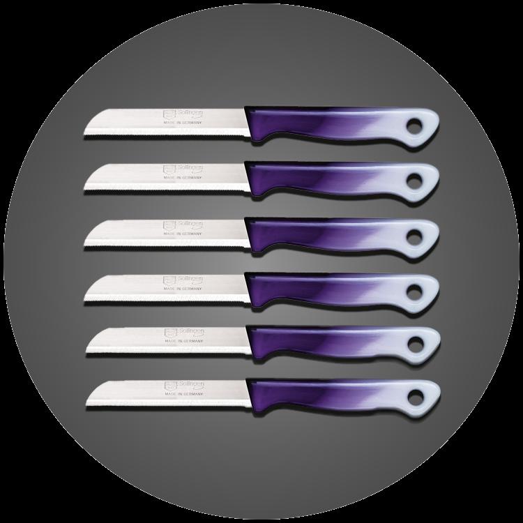 Solingen 6'lı Tırtıklı Ağız Büyük Geçişli Mor Meyve Bıçağı